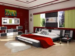 modern bedroom cabinet designs brown floor red wall gray leather