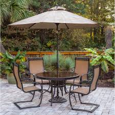 Lifestyle Garden Furniture Monaco 5 Piece Outdoor Dining Set With C Spring Chairs Glass Top
