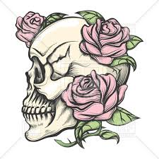 human skull with roses in style royalty free vector