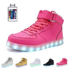 big kids light up shoes wonzom fashion high top velcro led light up shoes 7 colors usb