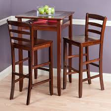 Dining Room Pub Table Sets by Amazon Com Winsome Wood Halo 3 Piece Pub Table Set With 2 Ladder