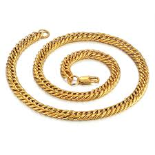 steel collar necklace images Golden color stainless steel collar necklace 8mm mens gold chain jpg