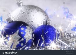 christmas card blue silver ornaments sparkling stock photo
