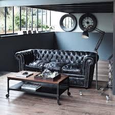 canapé chesterfield cuir vintage canapé capitonné chesterfield 3 places en cuir noir canapés en