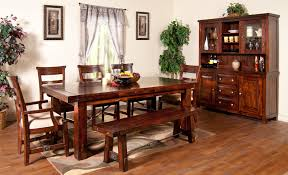 Large Wood Dining Room Table 7 Piece Extension Table With Chairs And Bench Set By Sunny Designs