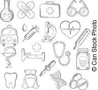 vectors of heart icon with healthcare and medical sketches