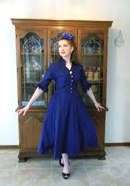 butterick retro 5556 pattern review a blue silk 1950s dress