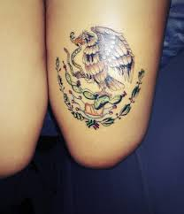 Mexican Flag Eagle Mexican Eagle Snake Tattoo On Thigh For Girls Tattooshunt Com