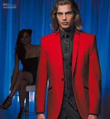 custom made red jacket and black pants groom tuxedos best man