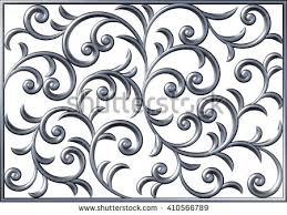 3d floral square swirl chrome pattern stock illustration 410566789