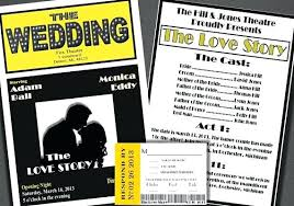 playbill wedding program playbill wedding invitations playbill playbill wedding invitation
