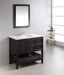 Simpli Home Burnaby  Bath Vanity With Dappled Grey Granite Top - Elements 36 inch granite top single sink bathroom vanity