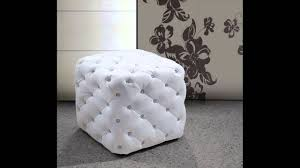 Tufted Pouf Ottoman by Divani Casa 0419g Modern Eco Leather Pouf With Tufted Acrylic