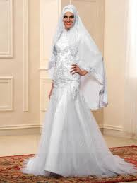 islamic wedding dresses fashion applique sleeves trumpet floor length muslim wedding