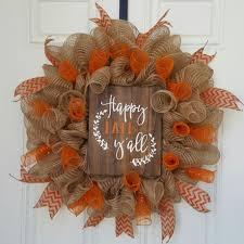 Halloween Geo Mesh Wreath Happy Fall Y U0027all Mesh Wreath Chevron Ribbon Orange Chevron And