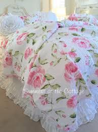 shabby pink tiffany peony roses cottage chic ruffle quilt set