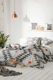 Modern Ethnic Bedroom Ideas White Grey And Copper Bedroom Copper Bedroom Quilt Cover And Aztec