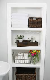 Built In Wall Shelves by Bathroom Inspiring Built In Bathroom Shelves With Dark Brown