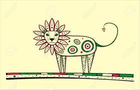 illustration lion produced ethno style unique