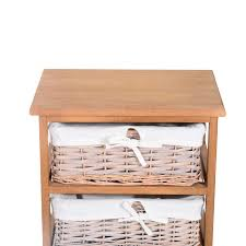 Chest Of Drawers With Wicker Drawers Homcom 5 Drawers Storage Unit Wooden Frame W Wicker Woven Baskets