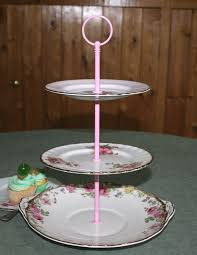 tiered cake stands vintage shabby chic mismatched 3 tier cake stand in shades of pink