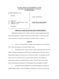 garnet digital v directv et al service of process patent