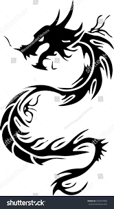 tribal chinese dragon tattoos tribal dragon tattoo design illustration stock vector 565457800