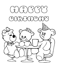 teddy bear birthday party coloring pages netart