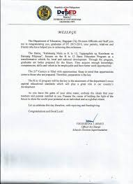 2016 graduation message deped dagupan