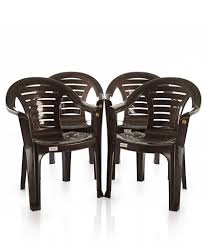 Plastic Furniture Shopping Online India Varmora Medium Back Chair Set Of 4 Curv Brown Buy Varmora