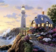 keegm lighthouse cottage thomas kinkade landscape oil painting on