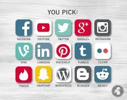 social media icons planner stickers facebook twitter pinterest