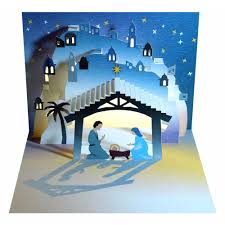 ge feng forever pop up greeting cards nativity manger