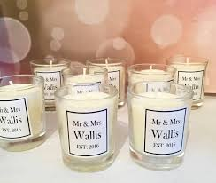 wedding favor candles personalised mr and mrs wedding favour candles by kisses and