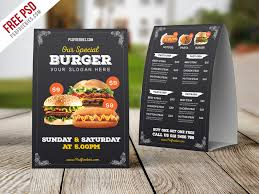 Table Tents Template Freebie Fast Food Menu Table Tent Template Psd On Behance