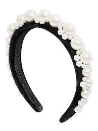 pearl headband lyst rocha faux pearl headband in black