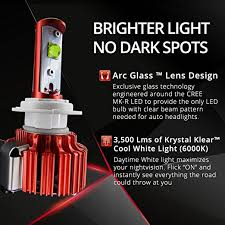 brightest hid lights for cars amazon com opt7 snowmobile led headlight kit h4 9003 6000k 6k xenon
