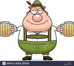 beer cartoon a cartoon illustration of a german man in lederhosen drinking beer