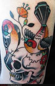 design of bird and skull tattoos tattoomagz