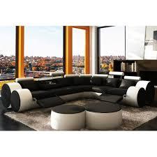 achat canap d angle canapé d angle design en cuir noir et blanc roma achat vente