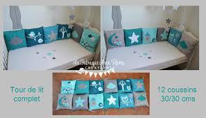 chambre bébé turquoise linge lit tour lit complet coussin et décoration chambre bébé