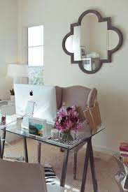Work Office Decorating Ideas Glass Desk And Decorative Mirror For Enchanting Work Office