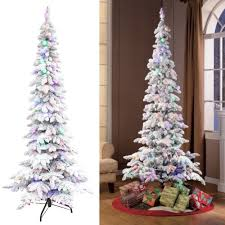 slim christmas tree with led colored lights artificial christmas tree pre lighted 7 5 flocked pine 100 multi