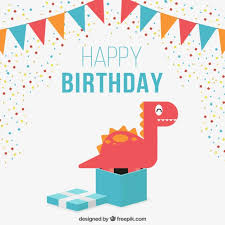 nice birthday card with a lovely dinosaur vector free download