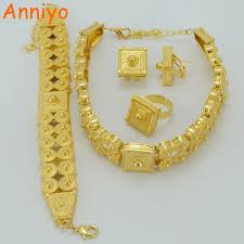 necklace bracelet earring ring images Anniyo ethiopian jewelry set gold color chokers necklace bracelet jpg