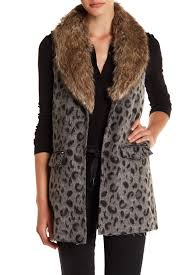 Leopard Print Faux Fur Throw Jolt Faux Fur Collar Leopard Print Vest Juniors Nordstrom Rack
