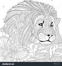 zentangle stylized cartoon lion wild cat stock vector 418367422