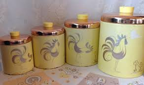 rooster canisters kitchen products ransburg yellow with copper lids tin rooster canister set vintage