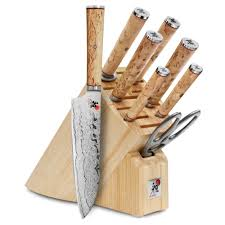 miyabi birchwood sg2 knife block set 9 piece cutlery and more