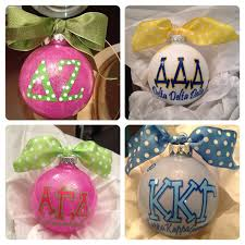 sorority or fraternity personalized themed ornaments